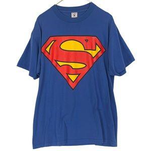 VINTAGE DC Superman Logo Single Stitch Cotton Tee
